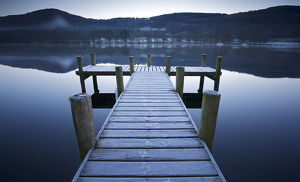 Jetty on lake windermere on frosty Morning