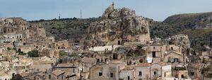 travel/unesco world heritage/large size panorama view sassi di matera basilicata