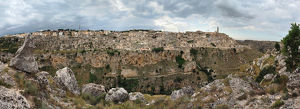 architecture/derelict buildings/large size panoramic view gravina di matera unesco