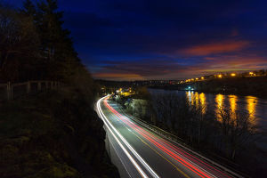Light Trails in Oregon City at Night