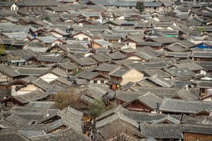 travel/unesco world heritage/lijiang old town bird eye top view local historical
