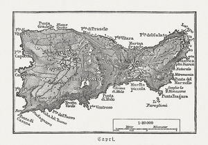 maps/map engravings/map capri italian island wood engraving published