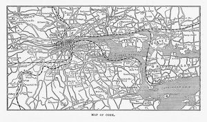 Map of Cork, County Cork, Ireland Victorian Engraving, 1840