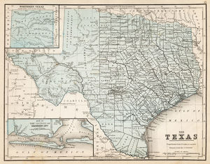 Map of Texas 1867