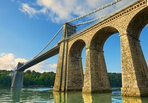 Menai Suspension Bridge, completed in 1826, crossing the Menai Strait between the
