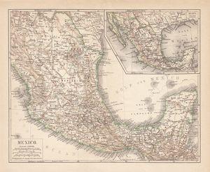 Mexico, ancient map, lithograph, published in 1877