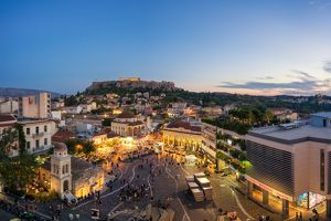Monastiraki Square and Acropolis of Athens, Greece