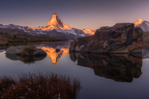 travel imagery/travel photographer collections coolbiere landscapes/morning view stellisee lake matterhorn background