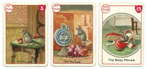 Three mouse playing cards Victorian animal families game