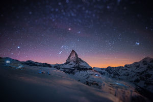 travel imagery/travel photographer collections coolbiere landscapes/night winter landscape matterhorn