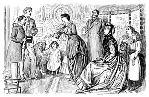 Nineteenth century gentleman being introduced to a family