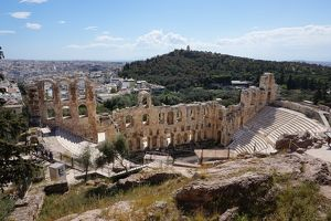 travel/unesco world heritage/odeon herodes atticus surroundings athens greece