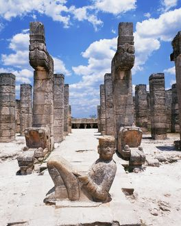 Old ruins in Pre-Hispanic City of Chichen-Itza in Mexico