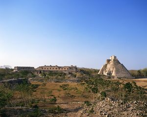 Old ruins in Pre-Hispanic City of Uxmal, Mexico