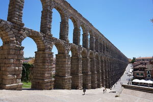 Overview on the Aqueduct of Segovia, Unesco, Spain