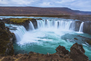 Panoramic view of the famous Godafoss waterfall, Iceland