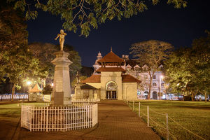 Park and the Temple of the Sacred Tooth Relic (Temple of the Tooth, Sri Dalada Maligawa) at night, Kandy, Central Province, Sri Lanka, Asia.
