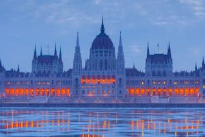 Parliament of Hungary Budapest at dusk