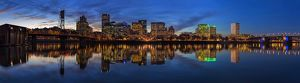 Portland Downtown Skyline at Blue Hour Panorama