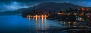 Portree Harbour - Harbor Isle of Skye Scotland by Moonlight Panoramic