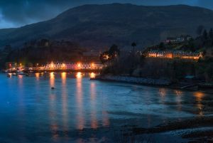 Portree Harbour - Harbor Isle of Skye Scotland by Moonlight Close Up
