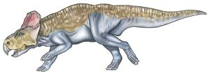 Protoceratops, dinosaur with forelimbs shorter than hind legs, beak, large ears.