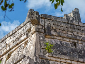 Detail of pyramid in Chichen Itza ruins, Mexico