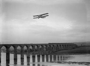 Race To Scotland; Imperial Airways Bi-plane, the 'City of Glasgow', flying over
