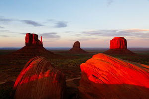 Red sunset over Monument valley, Arizona, USA