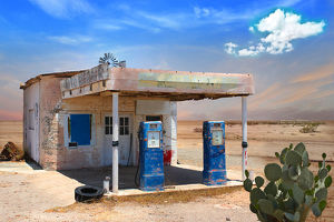 Retro Style Scene of old gas station in Arizona Desert