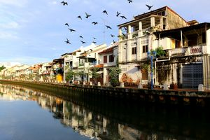 Along the river in the town of Melaka, Malaysia