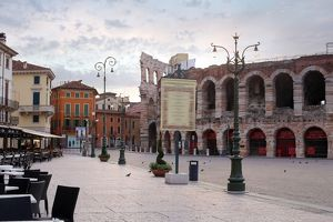 The ruins of Verona Arena on the Piazza Bra, Verona, Italy