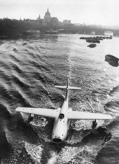 Saunders Roe A1; jet flying boat is towed to Westminster