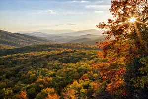 Scenic landscape in autumn from Beacon Heights, Appalachian Mountains, Blue Ridge Parkway
