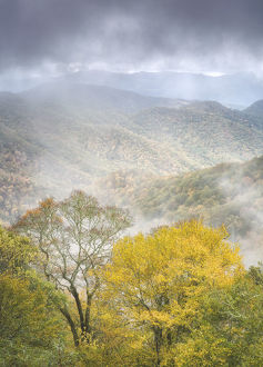 Scenic landscape with foggy mountains from Deep Creek Overlook in autumn, Great Smoky