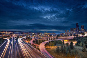 Seattle City Lights and Light Trails at Blue Hour