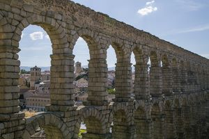 Segovia old town and ancient Roman Aqueduct