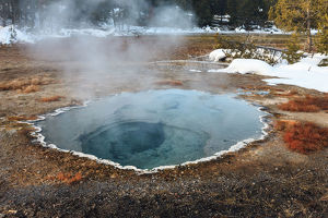 Shield Spring in snow, Yellowstone National Park, Wyoming, USA