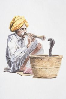 Snake charmer playing flute-like instrument, snake emerging from basket in front