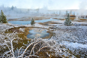 Snowy landscape with West Thumb Geyser Basin in winter, Yellowstone National Park
