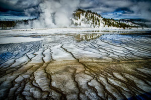 Springs in winter, Yellowstone National Park, Wyoming, USA