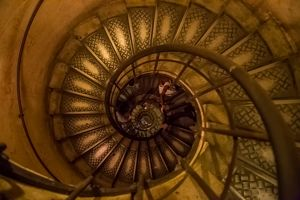 Staircase with spiral shape in the city of Paris