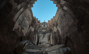 Sukhothai historical Park, Thailand, giant statue of Buddha in Wat Si Chum. The place is public property, no release document required