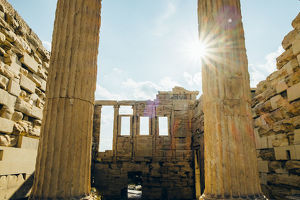 Sun Flare Through Parthenon Stone Columns