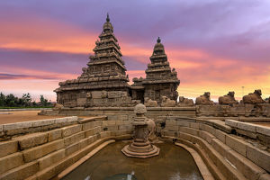 travel/unesco world heritage/sunset view shore temple complex miniature shrine