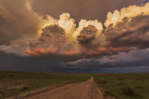 Thunderstorm towers, Nebraska. USA