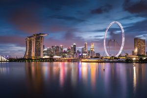 Twilight scene of downtown city skyline in Singapore