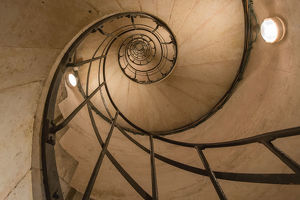 Upward view of spiral staircase
