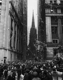 VE Day In New York; corner of Wall Street and Nassau Street in New York City during