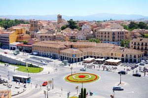 View on the Plaza de la Artilleria, Segovia, Spain